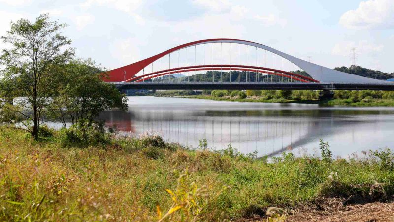 Yeongsangang Bike Path - Damyang Gwangju - Jiya Bridge over Yeongsan River near Gwangju